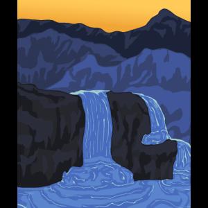 Wasserfälle und Berg