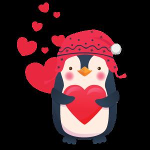 Süsser Pinguin mit Herzen feiert die Liebe