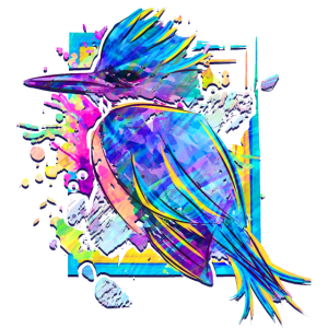 Eisvogel Zeichnung Auqarell - Icebird Bunt