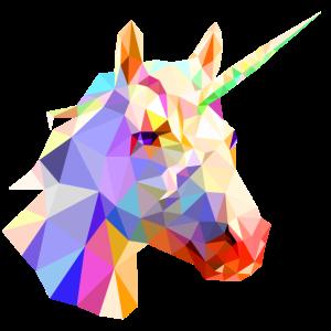einhorn polygon bunt kopf design