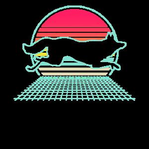 Vintage Retro Fox Sunset 80s Style Animal Lover