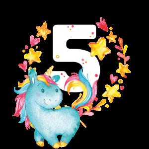 Geburtstag 5 Jahre Junge Mädchen Zahl Fünf Einhorn