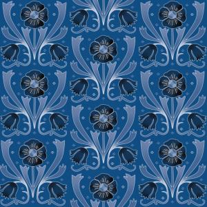 Jugendstil-Muster aus dunkelblauen Blumen