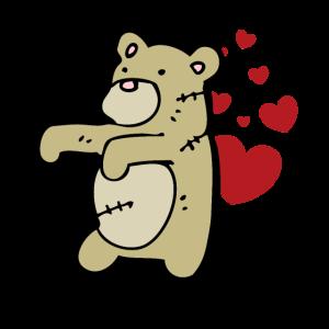 Süsser Teddybär mit Herzen feiert die Liebe