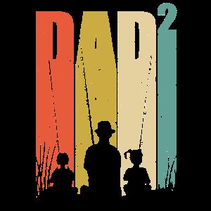 Vater zwei Töchter zweifacher Papa Geschenk Angler