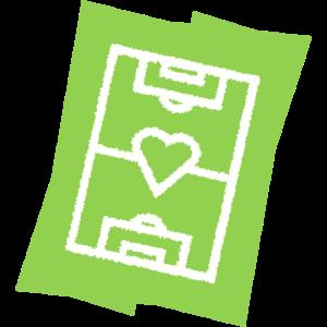 Fußballfeld mit Herz Vereinsfarben weiß grün