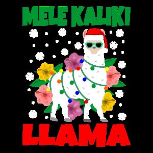 Mele Kaliki Llama Funny Hawaiian Christmas