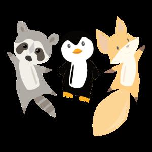 Waschbär Pinguin Fuchs lustige Tiere für Kinder