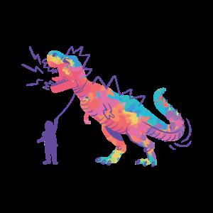 Kind hat Tyrannosaurus Rex an der Leine
