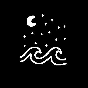 Wellen mit Sternenhimmel und Mond
