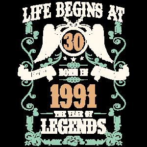 30. Geburtstag Geschenk Legends Born In 1991