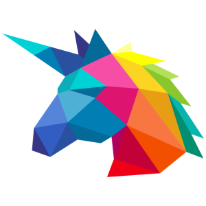 Einhorn minimalistisch in Regenbogenfarben