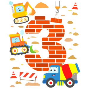 Baustelle 3. Geburtstag Junge Bagger Kind 3 Jahre