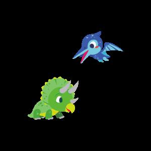 Niedliche Dinos spielen