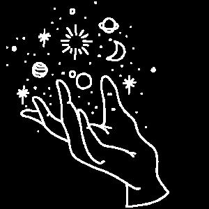 Hand Mond Weltall hell