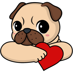 Valentinstag Mops mit Herz