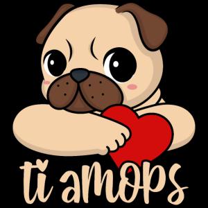 Valentinstag Mops Herz ti amops Liebe ti amo Paare