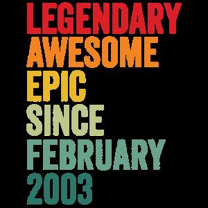 18. Geburtstag 18 Jahre alt Awesome 2003 Februar