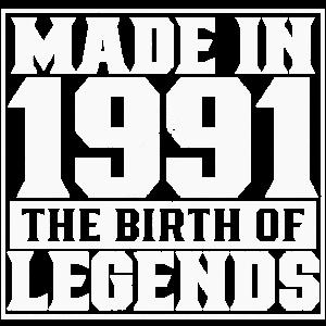 Jahrgang 1991 geboren Legenden Geburtstag Geschenk
