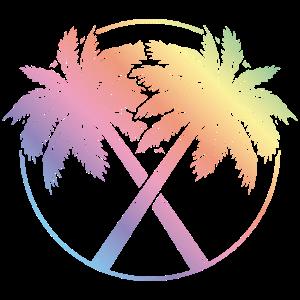 palme kreis bunt