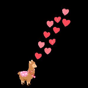 Witziges Lama Alpaka Herzen Valentinstags Geschenk