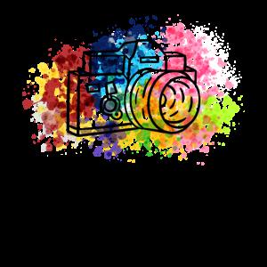 Bunte Kamera - Farbexplosion Fotograf Geschenk