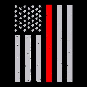 Dünne rote Linie Flagge notleidender Feuerwehrmann