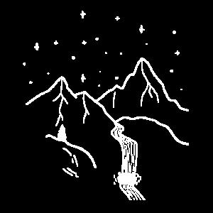 Berge mit Wasserfall und Sternenhimmel