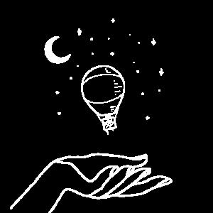 Minimalistischer Sternenhimmel mit Heißluftballon