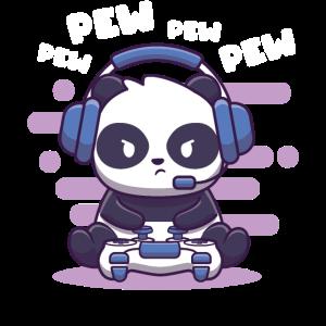 Gaming Panda Shirt Video Gamer Pew Pew