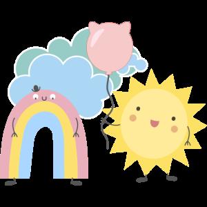 Regenbogen, Sonne, Emojis, Make love, Peace