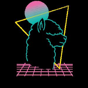 Vaporwave Aesthetik Lama Alpaka Retro Synthwave
