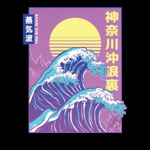 Big Wave Japanese Vaporwave Aesthetik Style
