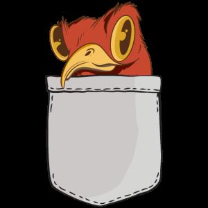 Lustiger Vogel sitzt in Brusttasche