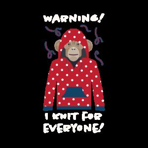 Achtung ich stricke für jeden, Affe Geschenk