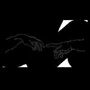 Minimalistische Linienkunst der Hand Gottes