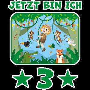 3 Jahre Dschungel Kindergeburtstag Kind Geschenk