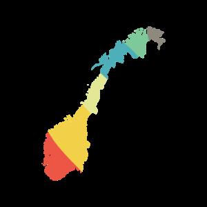 Norwegen Karte Vintage beunruhigt Retro Regenbogen