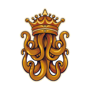 Kraken King Octopus mit Krone Luxus Ozean Geschenk