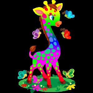 Bunte Regenbogen Giraffe Geschenk Tiere