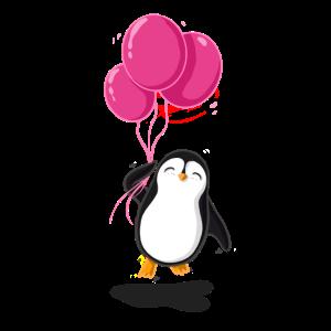 Pinguin mit pinken Luftballons.