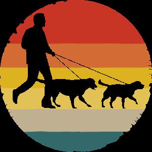 Vintage Hunde Gassi gehen Hundebesitzer Hund Retro