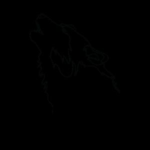 One Line Drawing Wolf Single Art