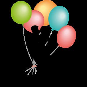 Hochzeitspaar küsst mit Luftballons