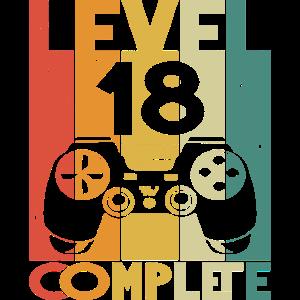 Level 18 Complete 18. Geburtstag Gamer 18 Jahre