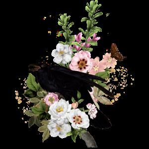 Rabe mit Blumen