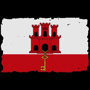 Flag of Gibraltar - Gibraltar Flagge - shabby look