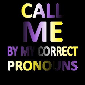 Nennen Sie mich bei meinen korrekten Pronomen   Non Binary Flag
