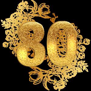80 Geburtstag happy birthday gold jubiläum