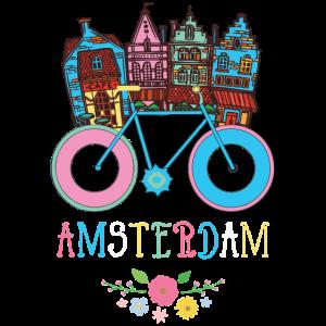 Floral Amsterdam Netherlands Bike Souvenir